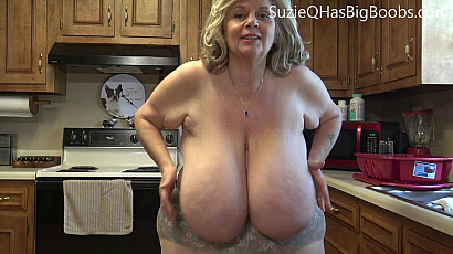 Suzie in Tit Play in the Kitchen